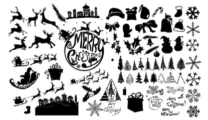 A set of Christmas silhouettes. Santa Claus with deer in a sleigh. Christmas trees. Vector illustration Fotoväggar