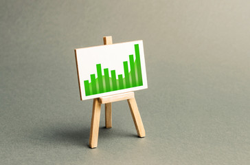 Information stand with a positive trend chart. Increase profits and wealth. growth of wages, prices for manufactured and sold goods. Favorable conditions for business. Investment attraction
