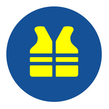 Safety yellow vest must be worn sign