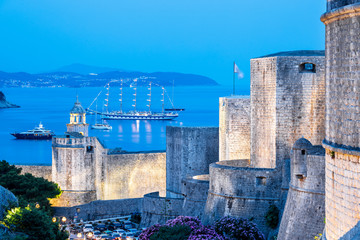 The city wall in the evening in Dubrovnik, Croatia