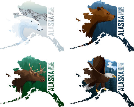 Set of vector Alaska American state maps with grizzly bear,  bald eagle, moose and polar bear