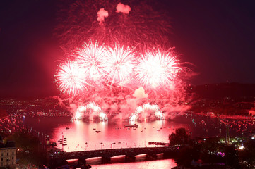 Fireworks explode during the Zueri Faescht festival over Lake Zurich in Zurich