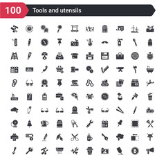 100 tools and utensils icons set such as megaphone side view, highlight, edit picture, recycling bin, cross wrench, air conditioning, reparation, key ring, edit tools