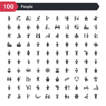 100 people icons set such as pulling hair, hugging, hand of an adult, heart in hands, help the elderly, person giving assistance, men carrying a box, sweeping person, people under an umbrella