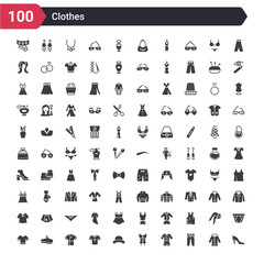 100 clothes icons set such as heels, trouser, pijama, corset, bowler, jersey, housecoat, beret, t shirt