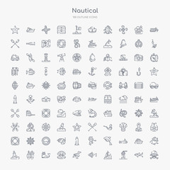 100 nautical outline icons set such as skull and bones, lighthouse, sailboat, fish, seagull, pearl, whale, oxygen tank