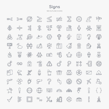 100 signs outline icons set such as crossing, square hotel, round hotel, emergency exit, subscript, quotes, borders, align left