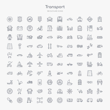 100 transport outline icons set such as loaded truck side view, recycling truck, road sweeper, steering, gearshift, chassis, lifter, alloy wheel