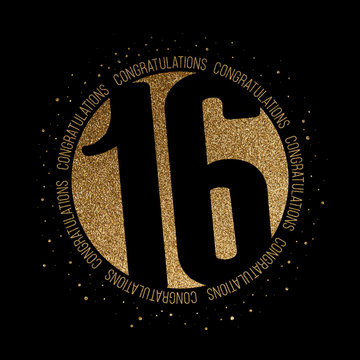 Congratulations number 16 birthday anniversary glitter circle design