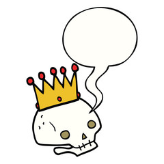 cartoon skull and crown and speech bubble