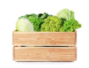 Spoed Foto op Canvas Keuken Wooden crate full of fresh green vegetables on white background