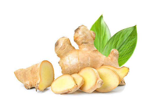 ginger herb with leaf on white background