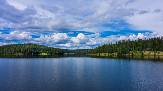 Mountain Lake With Clouds