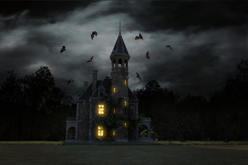 The Haunted Mansion, old building with glowing lights and a stormy sky with bats flying around. 3d render.