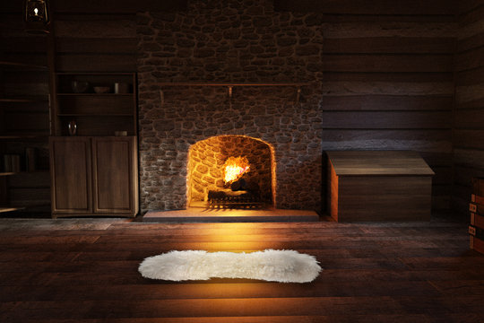 Inside a log cabin with a warm fire and a rug on the floor, 3d render.