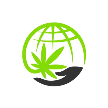 globe logo accompanied concept of cannabis and hands