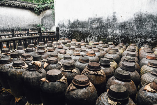Jars use for fermented white liquor or Rice whisky in factory in China