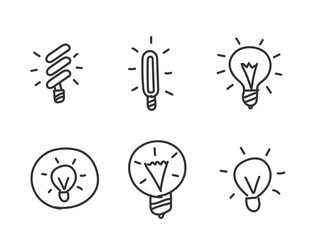 Light bulbs hand drawn sketched. Idea. Set of icons. Drawn by hand. Line style.