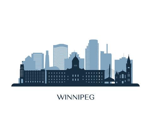 Winnipeg skyline, monochrome silhouette. Vector illustration.