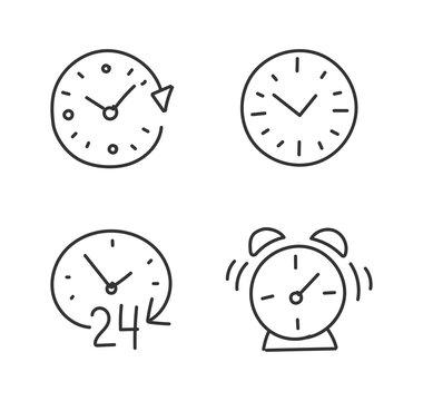 Time alarm clock hand drawn sketched. Set of icons. Drawn by hand. Line style. Outline contour.