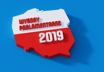 Fototapeta Polskie wybory parlamentarne. Polityka. 3D render. Ilustracja.