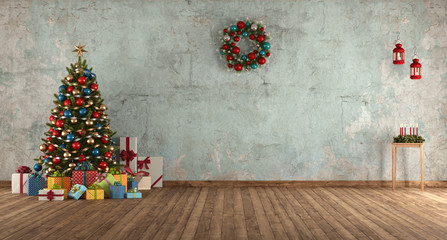 Blue old room with Christmas tree