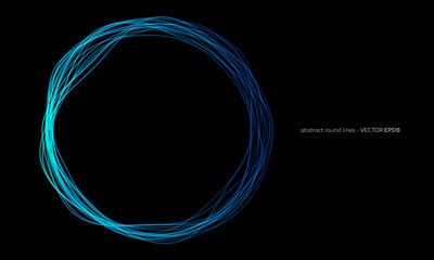 Vector abstract wavy circles lines round frame blue color isolated on black background. Technology modern concept Wall mural