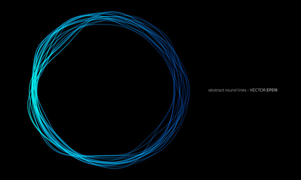 Vector abstract wavy circles lines round frame blue color isolated on black background. Technology modern concept