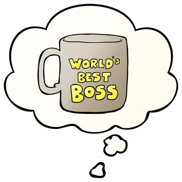 worlds best boss mug and thought bubble in smooth gradient style