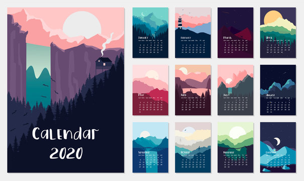 Calendar 2019.Vector set with landscape illustration. Flat design. Eps 10.