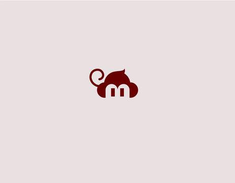 Creative abstract logo sign funny monkey minimalism