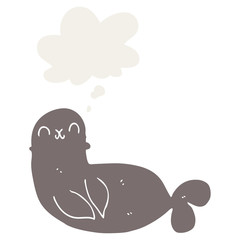 cartoon seal and thought bubble in retro style