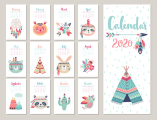 Wall Mural - Calendar 2020. Cute monthly calendar with forest