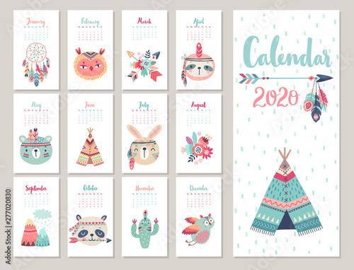Wall mural Calendar 2020. Cute monthly calendar with forest
