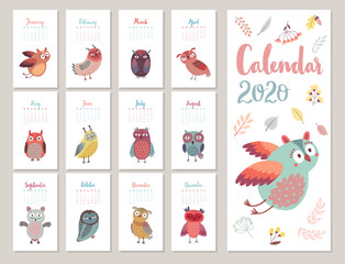 Fototapete - Calendar 2020. Cute monthly calendar with