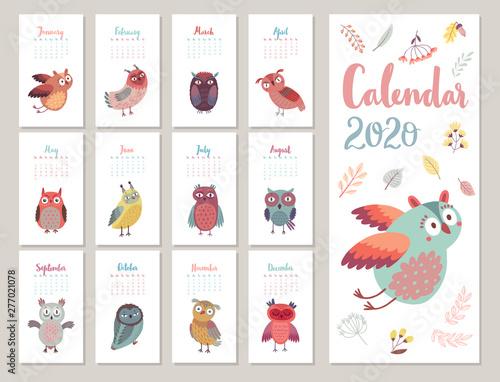 Wall mural Calendar 2020. Cute monthly calendar with