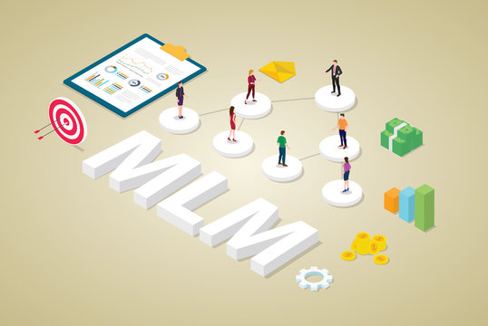 multi-level marketing business concept with team people scheme binary tree concept with money and isometric modern flat style - vector