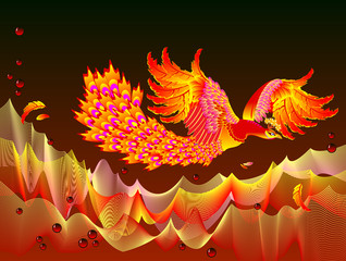 Fantasy illustration of Fire-bird flying between flame waves. Cover for children fairy tale book. Abstract background for poster for theater performance. Printable vector cartoon image.
