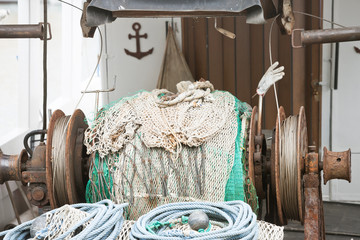 Novigrad, Istria, Croatia - An old fishing net winch on a fishing boat