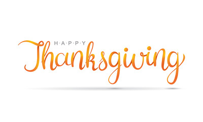 Happy Thanksgiving hand written calligraphic text. Script orange stroke isolated on white background.