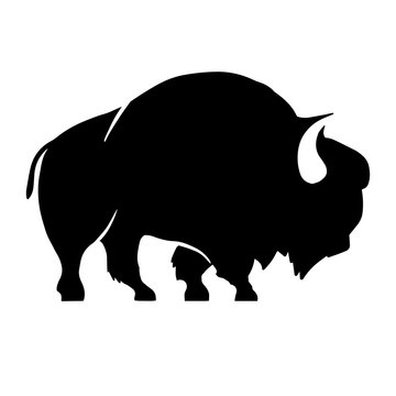 Abstract silhouette of bison .Vector badge