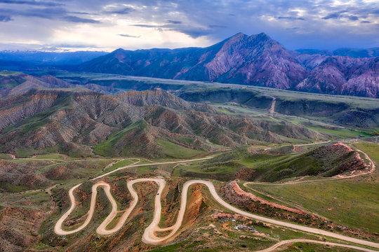 Bendy Mountain Road in Khosrov Forest State Reserve, Armenia, taken in April 2019\r\n' taken in hdr