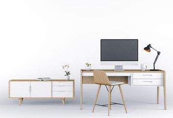 3D render of Studio computer with desk, sideboard