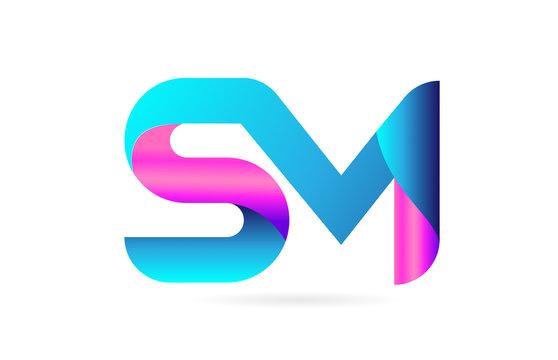 pink blue alphabet letter SM S M combination logo icon design