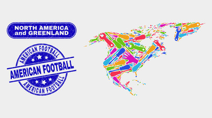 Engineering North America and Greenland map and blue American Football distress seal. Colored vector North America and Greenland map mosaic of production parts. Blue rounded American Football seal.