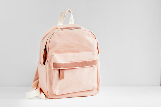 Stylish pale pink Backpack on  with background. Flat lay, top view