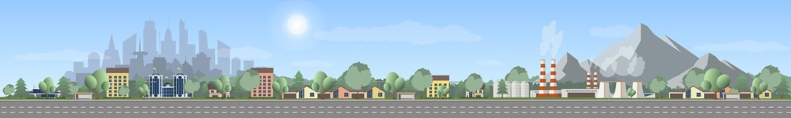Vector of urban landscape with empty highway, with industry zone over mountain landscape, Panoramic cartoon, modern cityscape over green trees and blue sky.