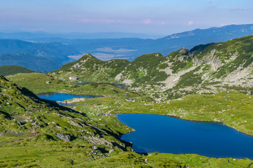 Fototapete - Fish, Twin and trefoil lakes, part of the seven rila lakes natural park in Bulgaria
