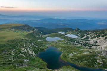 Fototapete - Sunset aerial view of seven rila lakes in Bulgaria