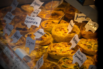 quiches in a shop window